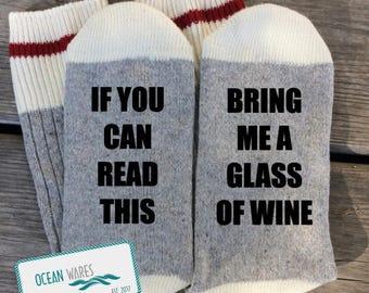 SUPER SOFT Novelty Word Socks, WINE, Bring me a glass of wine, wine gift, Funny Socks, Word socks, novelty socks, personalized socks
