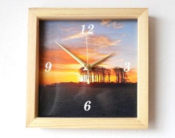 Sunrise Photo Clock - Photo Wall Clock - Winter Sunrise - Landscape Photography - Square Wall Clock - Trees Photo Clock