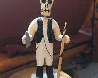 Mexican Day of the Dead Ceramic Fisherman Figurine, Dia De Los Muertos Skeleton Art