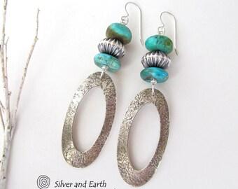 Boucles d'oreilles en argent sterling avec des cerceaux ovale en argent Turquoise, fait à la main, longues boucles, bijoux argent & Turquoise du Sud-Ouest moderne