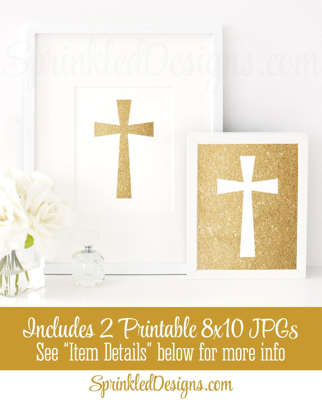 Gold Glitter Cross Wall Art White Set of 2 Printable Signs