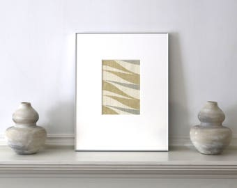 Mid Century Framed Wallpaper Vintage Abstract Wallpaper c. 1960s  11 x 14 inches