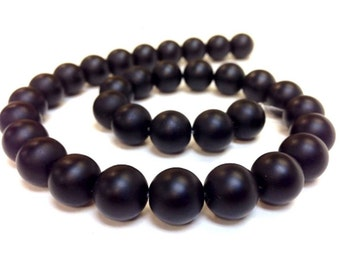 Hight Quality Matte Frosted Black Onyx Stone 6, 8, 10 and 12 mm Smooth Round Beads 15.5 inch Full Strand (G0449-MS)