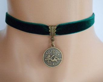 green velvet choker, virgo choker, virgo necklace, zodiac charm, antique bronze