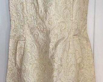 1960s Gold brocade dress-size small/medium