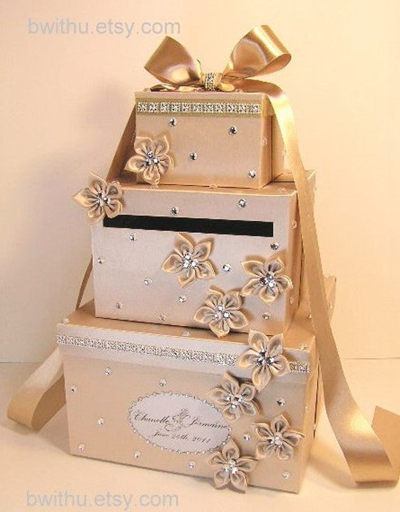 Wedding Card Box Champagne Gift Card Box Money Box