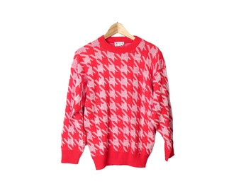 Vintage 80s Bright Red Houndstooth Print Sweater Size S
