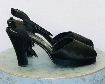 Vintage 40's Delman Black Leather & Satin Platform Peep Toe Ankle Strap Sandals l 9