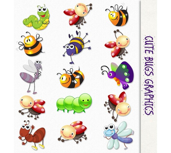 cute bugs clip art insects clipart scrapbook graphic rh etsy com clipart bugs bunny and hunter clipart bugs and insects