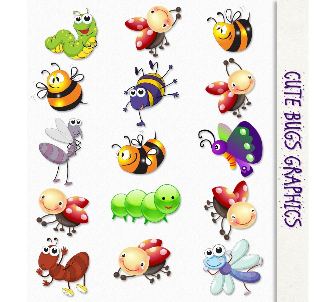 cute bugs clip art insects clipart scrapbook graphic rh etsy com cute ladybug clipart cute bug clipart