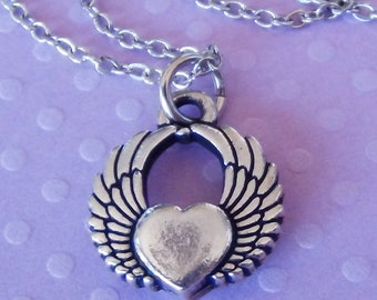 HEART with WINGS Necklace - Pewter Charm on a FREE Plated Chain