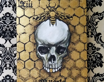 Muerte 13, 9x12 Original Acrylic Painting on Cradled Wood