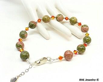 Unakite Bracelet, Chakra Bracelets, Unakite Crystal Silver Bracelet, - B2007-14A