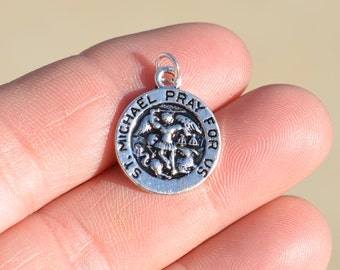 1  St. Michael Pray for Us Silver Tone Religious  Charm SC1443