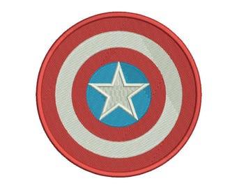 Captain America Shield Embroidery Design - 4 SIZES