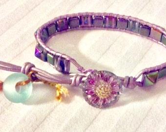 Purple Pyramid Stud Wrap Bracelet