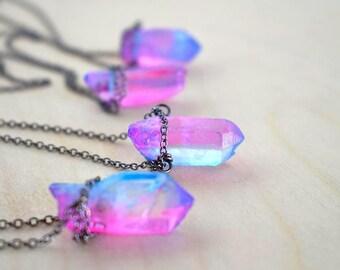 Unicorn Crystal Necklace | Pink and Blue Crystal Necklace | Magical Faerie Quartz Pendant | Neon Crystal Quartz Necklace