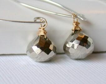 Pyrite Drop Earrings. Threader Hoops. Dangle. Artisan. Jewelry.