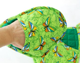 Pocket Oven Mitts and Pot holder Green oven mitt Gift for Mother's Day Kitchen mitt Butterfly kitchen glove Pair of oven gloves Gift for mom