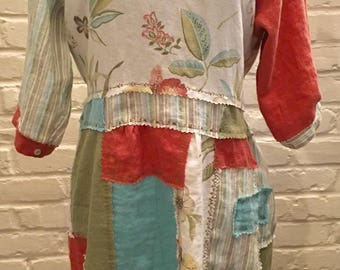 Upcycled Bohemian Tunic, Gypsy, Patchwork,OOAK, Romantic,Linen, Repurposed, Wearable Art, Med/Large Dress