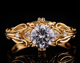 DYR-030Y 5mm center stone yellow gold ring