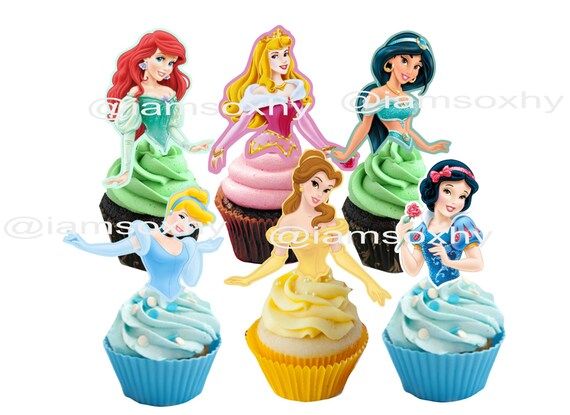 24 disney Princess cupcake cakepop toppers