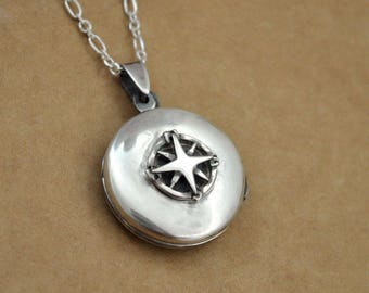 sterling silver compass locket, GUIDANCE, antiqued 925 sterling silver compass locket necklace. gift for her. vintage style round locket.