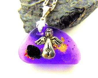 Pendentif violet Ange gardien et améthyste