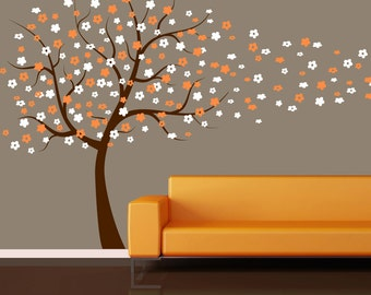 Wall Decal: Cherry Blossom Tree Blowing in the Wind Wall Decal - Kids Nursery Living Room Bedroom