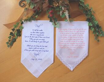 Wedding Handkerchief-PRINTED-Set of 2 CUSTOMIZED-Mother of the Bride-Father of the Bride-Wedding Handkerchief-Wedding Gift-Parents-FCAC[96]