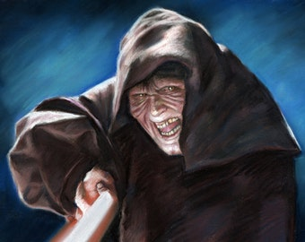 "Star wars, The Emperor, darth sidious painting, poster, drawing by artist eugene, 16""x20"",22.4""x28"",30""x40""inches"
