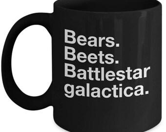 the office tv show coffee mug - Bears. Beets. Battlestar Galactica - Dwight quote