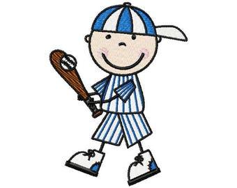 Baseball Stick Figure Embroidery Design, Baseball Embroidery, Machine Embroidery, Embroidery Design, Baseball Design, Instant Download