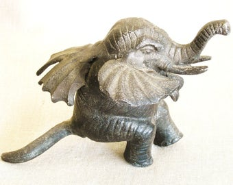 Vintage Cast Metal Elephant, Figurine, Figure, Mythical Animals, Mystical, Wings, Sculpture, Black, Pachyderm, Flying, Jungle, Circus