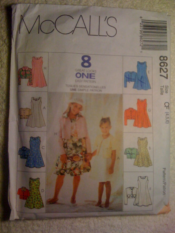 McCalls 90s Sewing Pattern 8627 Girls Unlined Jacket and Dress Sale
