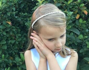 Pearl Flower Girl Headband, wedding headband, wedding headpiece, rhinestone tiara, Harley Pearl Flower Girl Headband