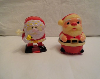 Set of 2 Vintage Wind Up Santas From Fun World Inc