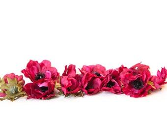13 Anemones in Hot Pink - Artificial Flowers - ITEM 01336