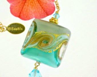 Murano Glass Pendant | Turquoise Murano Glass | Murano Jewelry | Blue Venetian Bead | Turquoise Blue Glass | Italian Hand Blown Glass