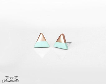 WHITE ROSE GOLD Dipped Triangle Stud EarringsBridesmaid