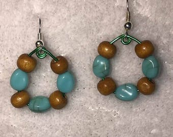 Hoops with blue and wood beads and stones