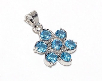 925 Sterling Silver Natural Blue Topaz Gemstone Pendant Jewelry