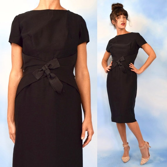 Vintage 50s 60s Jet Black Hourglass Silhouette Wiggle Dress with Wasp Waist and Structured Bow (size medium)