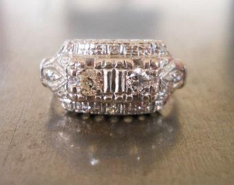 Art Deco Engagement Ring-1930s Engagement Ring-Deco Engagement-Unique Engagement Ring-Vintage Wedding Ring-1920s Engagement-Platinum Diamond