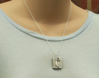Book Locket Necklace, Book Necklace, Book Lover, Librarian, Picture Locket, Book and Key, Key Jewelry, Antiqued Silver