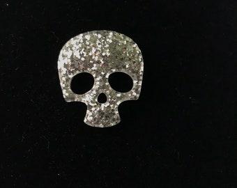 Silver Glitter Skull Pin Badge
