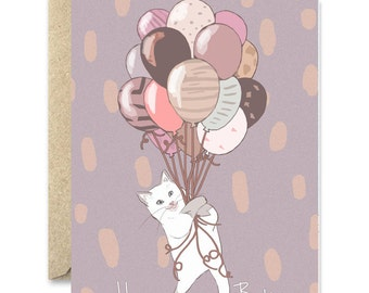 Cat Balloons - Happy Birthday Cat greeting card
