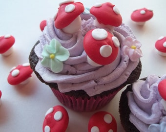 Royal icing toadstools -- Made To Order -- Edible handmade cupcake toppers cake decorations (12 pieces)