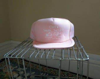 Pink Vintage Trucker hat 80s Cliff's Septic Service Pink and white baseball Cap foam and mesh snapback vintage hat 80s Adjustable snap back