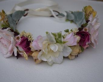 Ivory, Pink & Dark Fuchsia Flower Crown- Flower Girl Crown - Bridal Flower Crown- Flower Girl Wreath- Photo Prop - Engagement Photos
